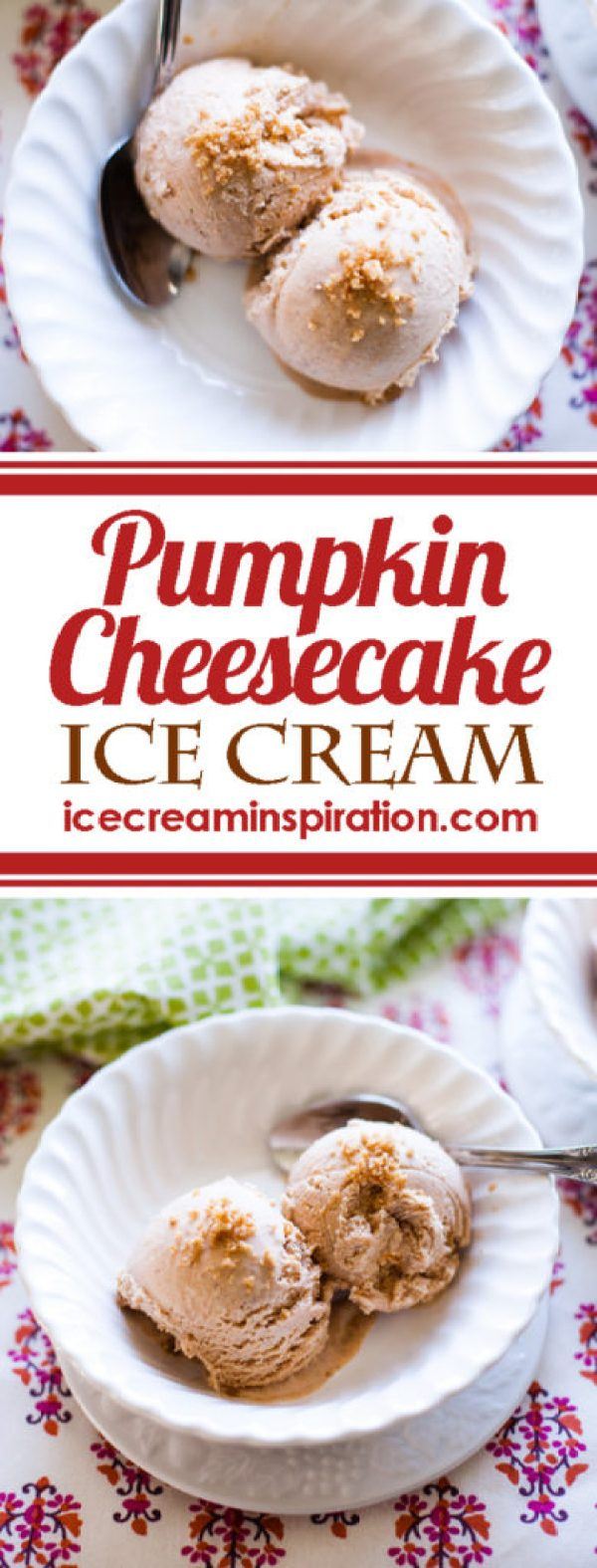This Pumpkin Cheesecake Ice Cream is a perfect ice cream for fall and would be an amazing dessert for Thanksgiving! See what the secret ingredient is!