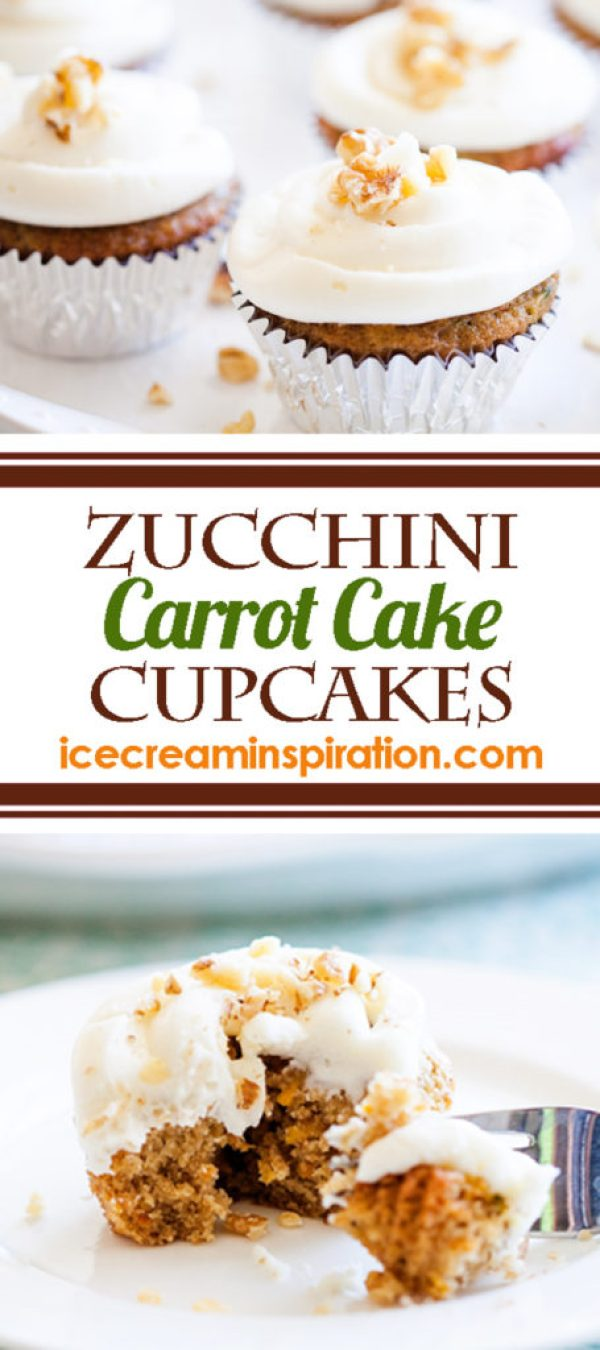 These Zucchini Carrot Cake Cupcakes mix two classics--Zucchini Bread and Carrot Cake--to make the best cupcake recipe ever!
