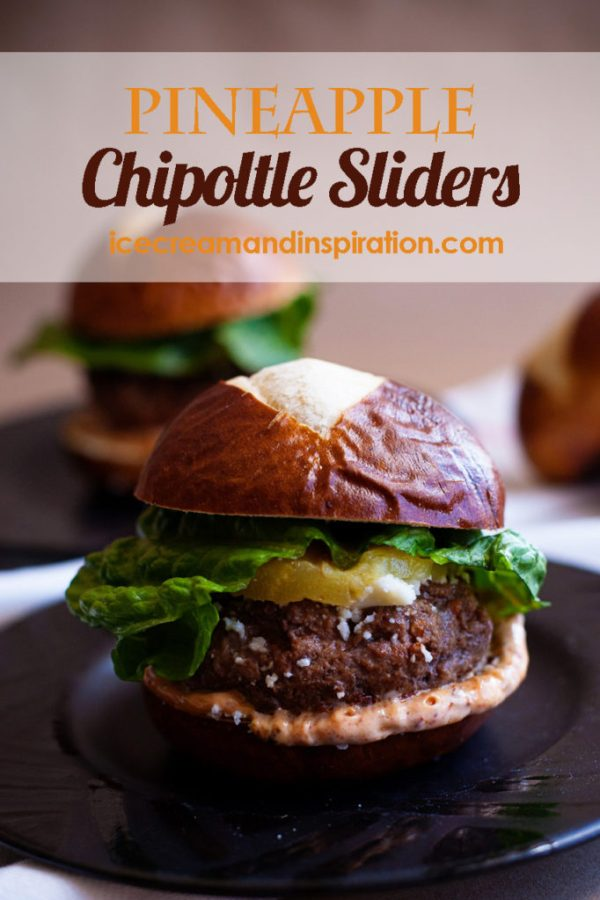 Add these tangy, spicy Pineapple Chipoltle Sliders to your collection of hamburger slider recipes! The perfect burger for your barbecue! Slider recipes, hamburger recipes