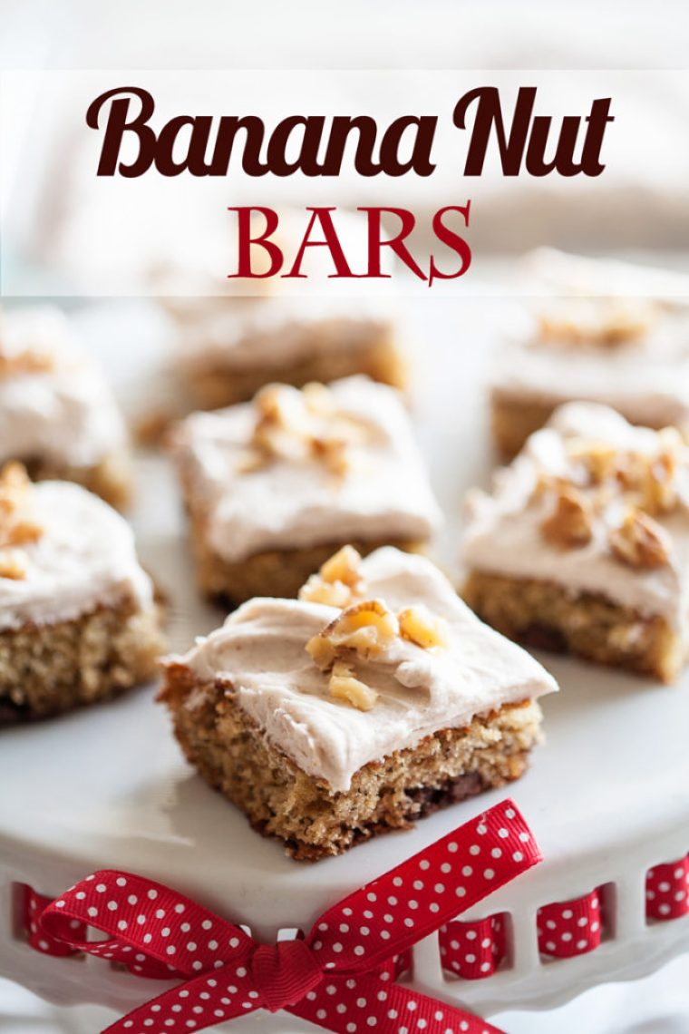 Use your brown bananas in these delicious Banana Nut Bars with Cinnamon Cream Cheese Frosting!