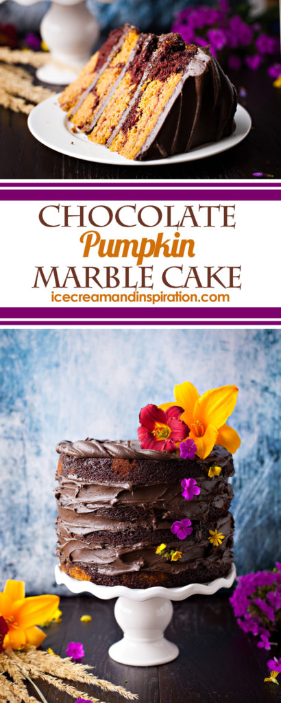 Chocolate Pumpkin Marble Cake. The best pumpkin cake you will ever have! Rich chocolate cake is swirled with moist pumpkin cake and topped with chocolate frosting for this showstopping dessert!