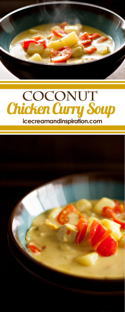 Mild Coconut Chicken Curry Soup is comfort food at its best! Full of chicken, potatoes, peppers, and onions, along with coconut milk and yellow curry.