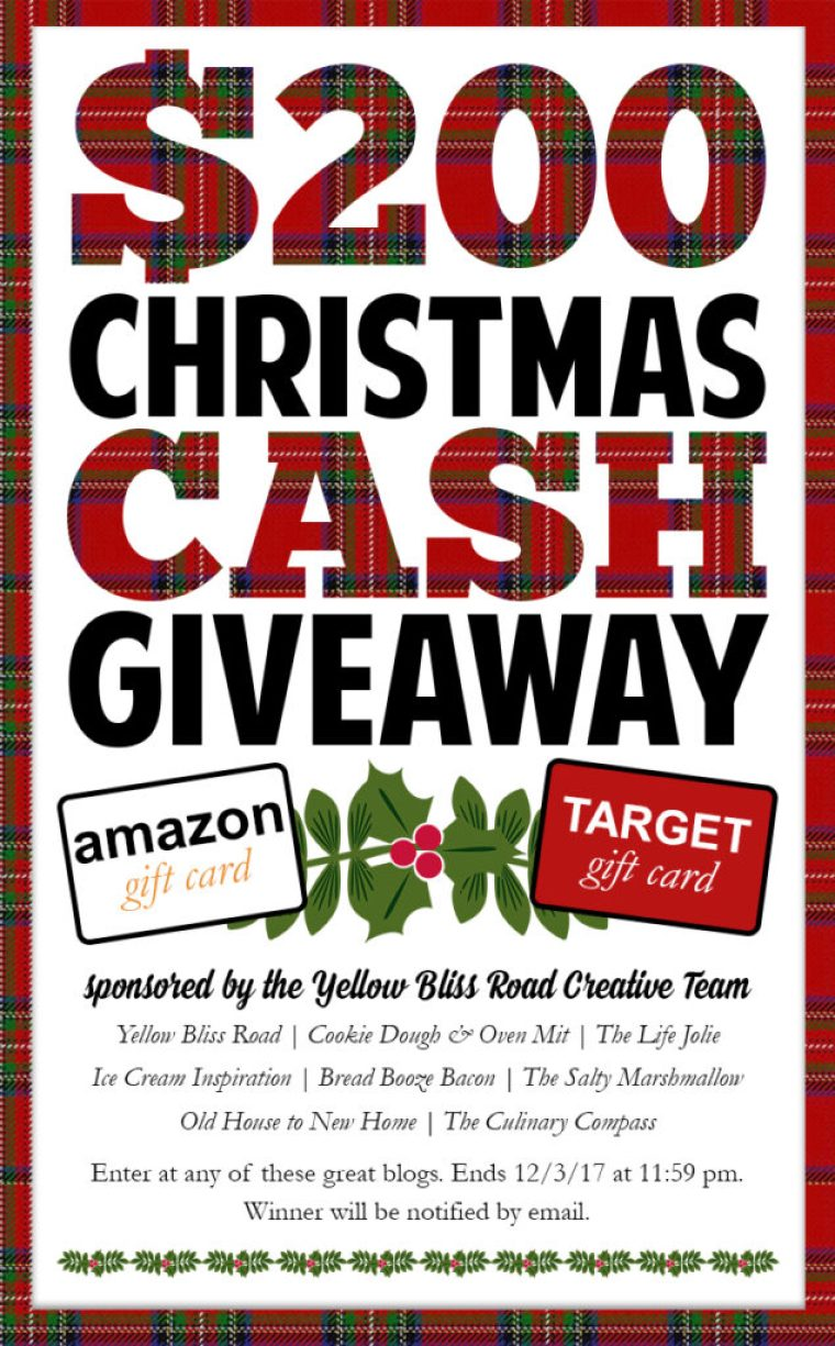 Enter to win Christmas cash just in time for the holidays! Get an Amazon or Target gift card, or Paypal cash! Then check out these yummy holiday treats!