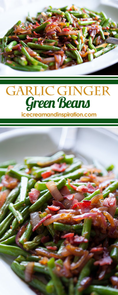Garlic Ginger Green Beans are the perfect side dish for any meal! Full of color, flavor, and texture, it's sure to please even the pickiest palates! Green beans and bacon, green beans and onions, green beans and garlic