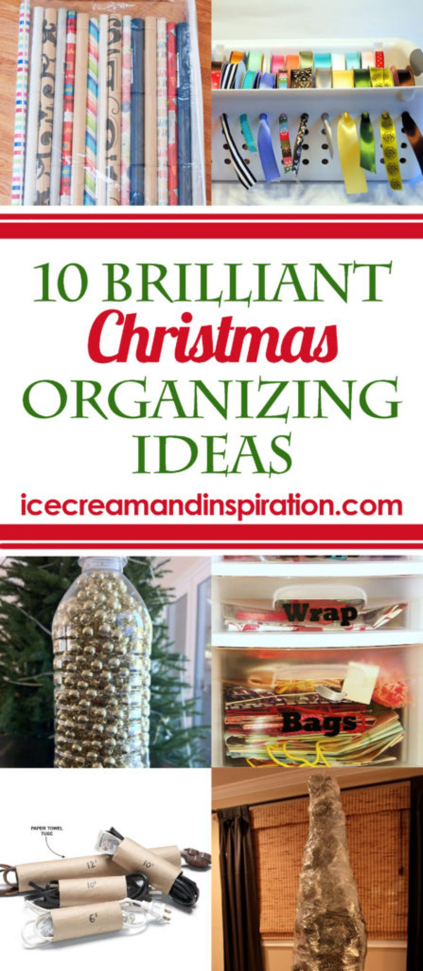 Use these 10 Brilliant Christmas Organizing Ideas as you clean up this year to make next year's decorating and wrapping a snap!