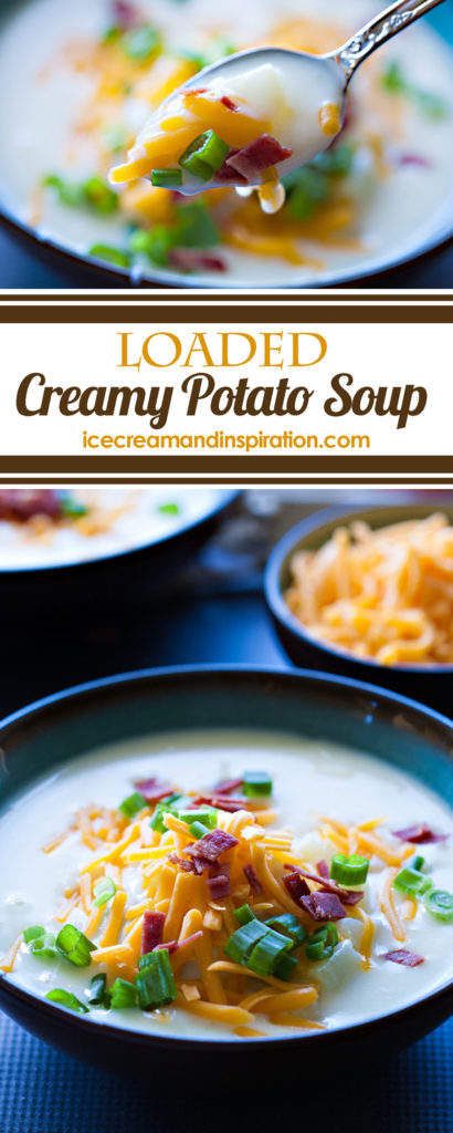 This Loaded Creamy Potato Soup is full of tender potatoes in a silky smooth soup, topped with shredded cheese, bacon, and green onions.