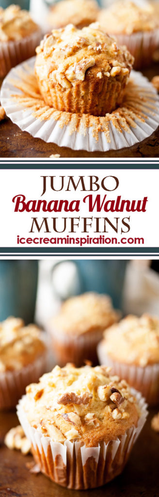 These over-sized Banana Walnut Muffins are bursting with flavor and are perfect for breakfast or brunch.