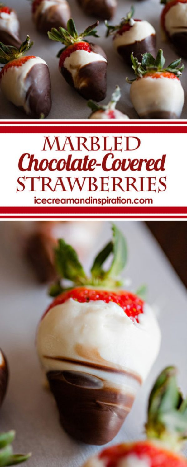 Learn how to make gorgeous Marbled Chocolate Covered Strawberries in this easy tutorial with step-by-step pictures. Perfect for Mother's Day, weddings, and as cupcake toppers!