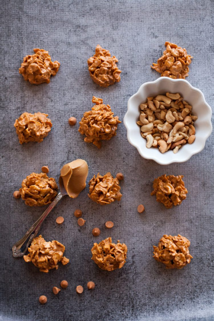 Cashew Cornflake Clusters. Classic butterscotch no-bakes with cornflakes and cashews!