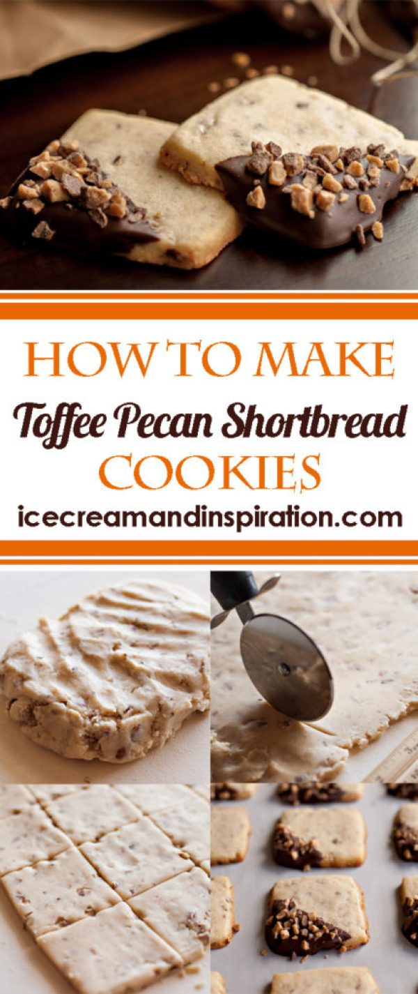 Learn how to make these delicious Toffee Pecan Shortbread cookies. Dip them in chocolate and sprinkle with toffee bits for a gorgeous presentation!