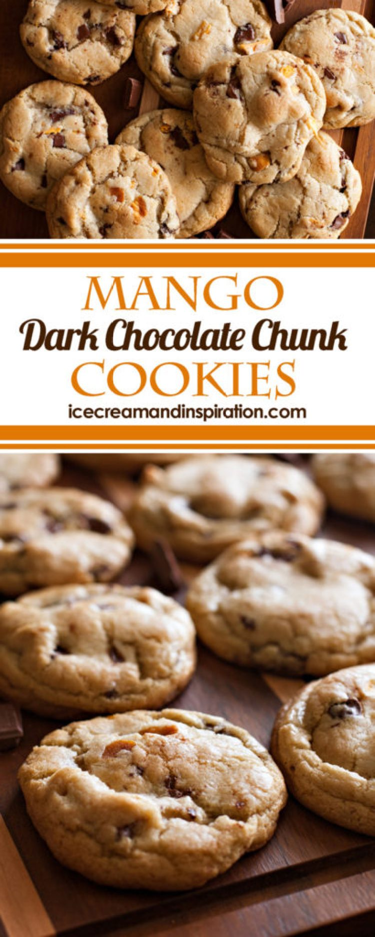 Chewy tropical mango and dark chocolate in a citrus dough make these thick, soft cookies the star of any party! Just like the RubySnap cookies. What is the secret to making these cookies so thick and soft? Read the post to find out!