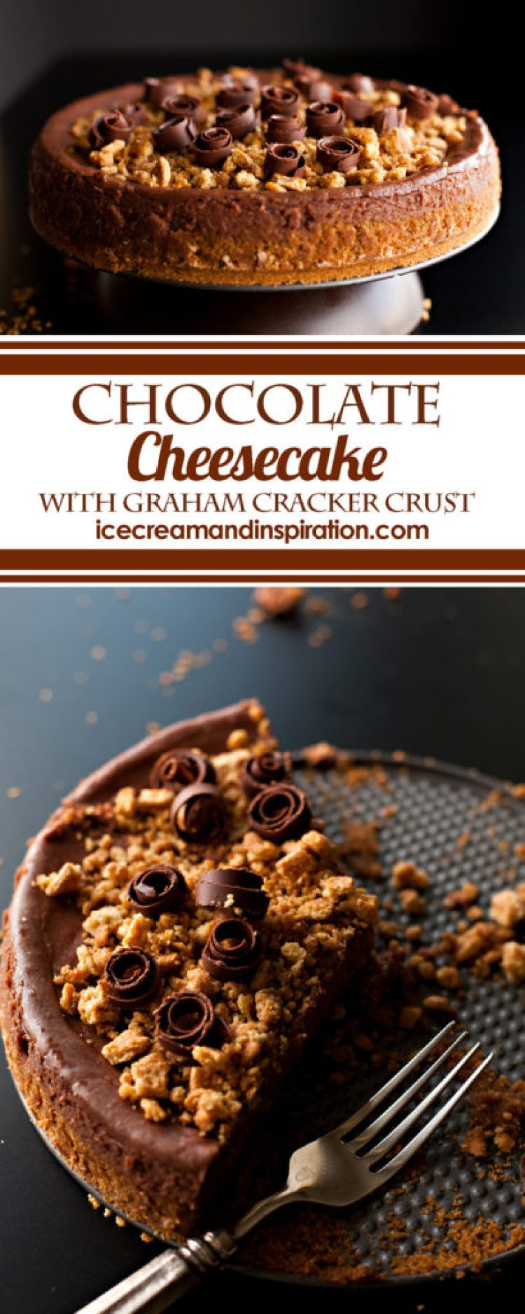 This Easy Chocolate Cheesecake recipe is rich, smooth, and decadent. Surprisingly simple to make, with no water bath. A classic graham cracker crust rounds out this must-have recipe for the best chocolate cheesecake ever!
