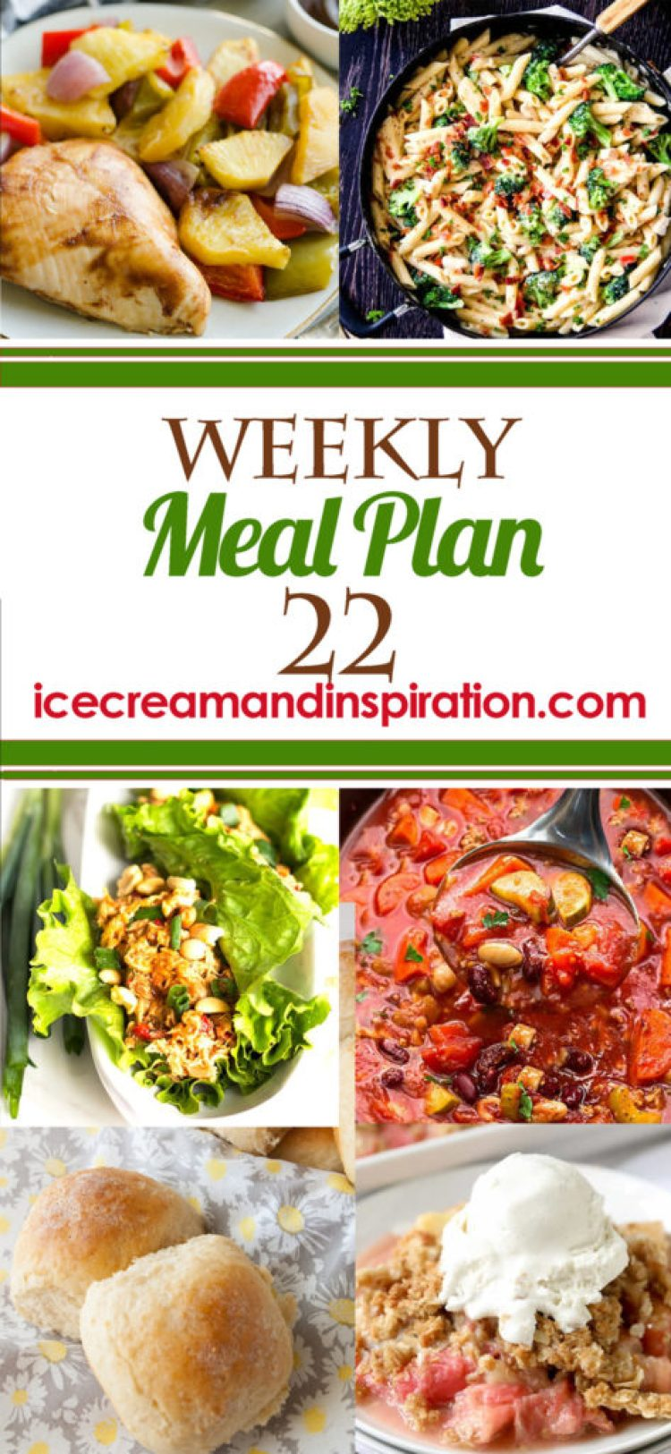 This week's meal plan has recipes for Hawaiian Barbecue Sheet Pan Dinner, Easy Skillet Beef Pot Pie, Grilled Ranch Pork Chops, and more! Plus, recipes for bread and dessert.