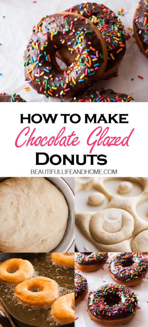 Learn how to make Chocolate Glazed Donuts! This chocolate glazed yeast donut recipe is easy to make, with step-by-step pictures and instructions. Don't forget the sprinkles!