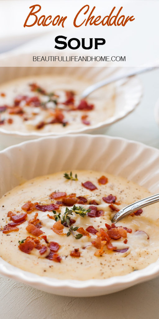 This Bacon Cheddar Soup is SUPER creamy and made with three kinds of cheese and thick-cut smoked bacon. Quick and easy to make, it's the perfect soup for Saint Patrick's Day!