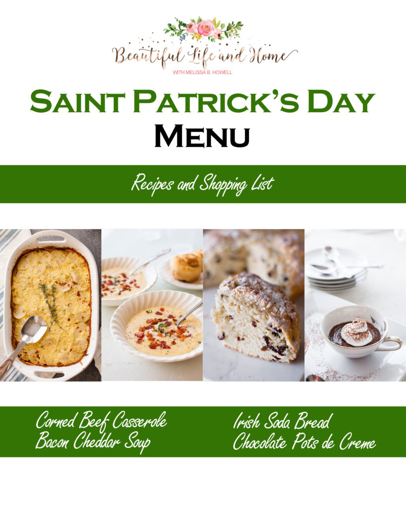 If you're looking for Saint Patrick's Day recipes, you've come to the right place! Corned Beef Casserole along with classic Irish Soda Bread, Bacon Cheddar Soup, and Chocolate Pots de Creme!