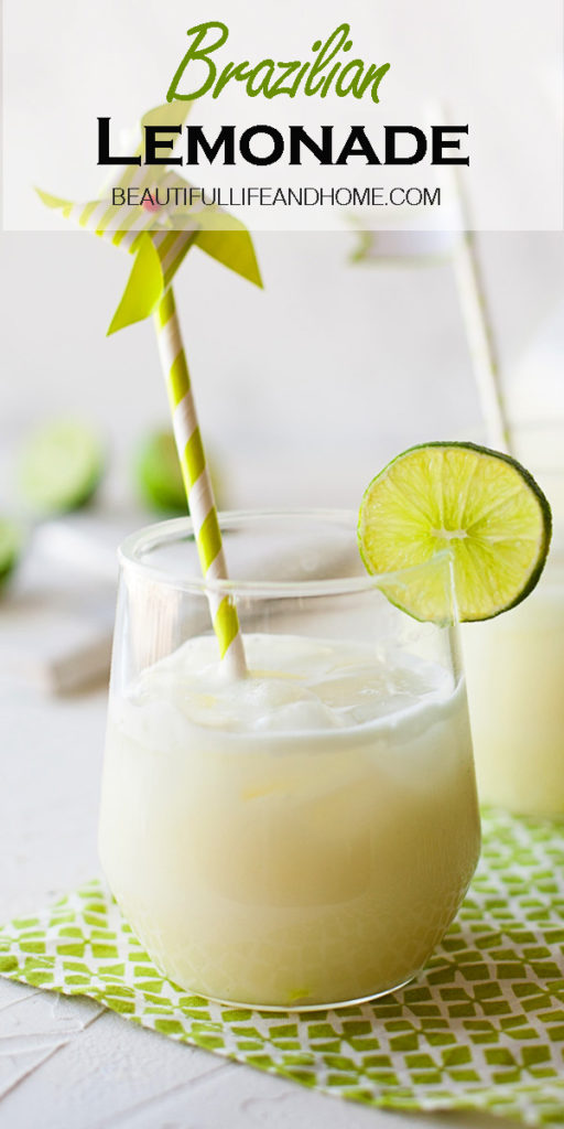 This Brazilian Lemonade recipe will have you begging for more! Made with fresh limes (not lemons!) and finished off with sweetened condensed milk, this classic Brazilian drink will become your new favorite!