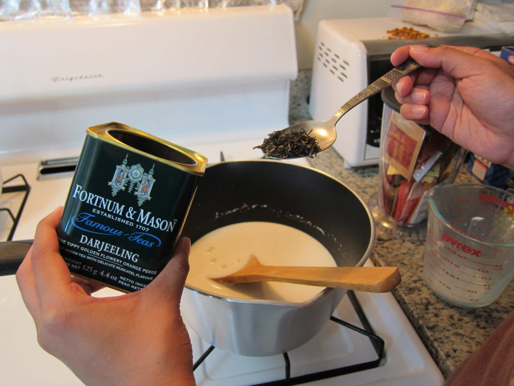 Adding tea to the mixture