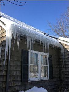 ice dam on cedar shake home, ice dam on roof