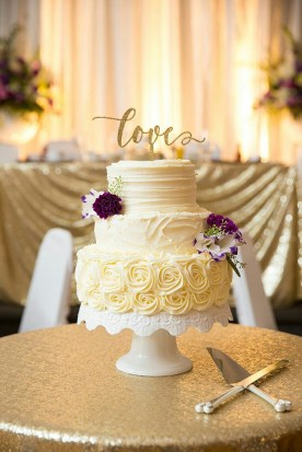 Three tiered rosette rustic vintage wedding cake - ICED Cupcakery