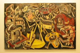 """""""The Control Out of the Factory"""" 1959, paint on canvas"""