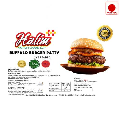 HALIM BUFFALO BURGER PATTY UNBREADED 500GM