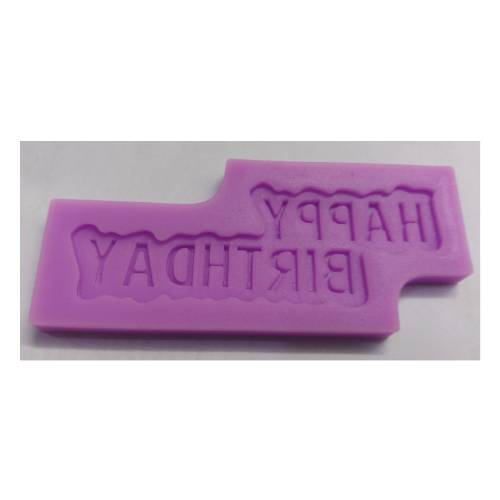 SILICONE PURPLE MOULD F78 HAPPY BIRTHDAY