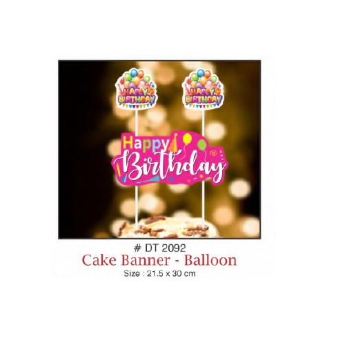 CAKE BANNER HAPPY BIRTHDAY BALLOON DESIGN