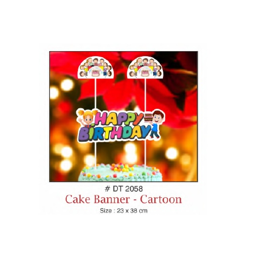 CAKE BANNER HAPPY BIRTHDAY CARTOON DESIGN