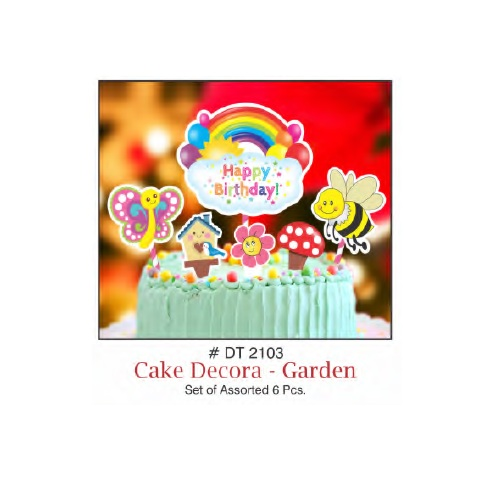 CAKE DECORA TOPPER HAPPY BIRTHDAY GARDEN THEME SET OF 6 PIECE