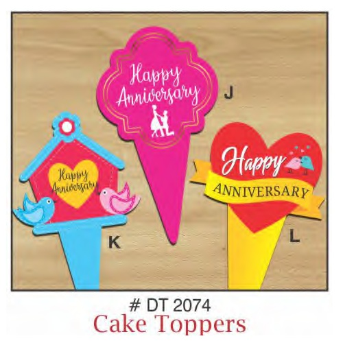 CAKE TOPPERS ANNIVERSARY 10 PIECE