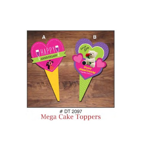 MEGA CAKE TOPPER HAPPY ANNIVERSARY HEART DESIGN 5 PIECE