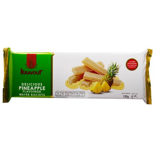 KRAVOUR PINEAPPLE WAFER BISCUITS 120g