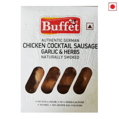 BUFFET AUTHENTIC GERMAN CHICKEN COCKTAIL SAUSAGE GARLIC & HERBS NATURALLY SMOKED 200g
