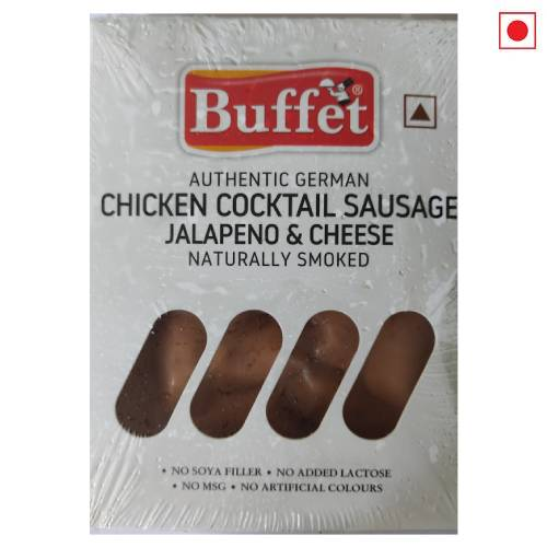 BUFFET AUTHENTIC GERMAN CHICKEN COCKTAIL SAUSAGE JALAPENO & CHEESE NATURALLY SMOKED 200g