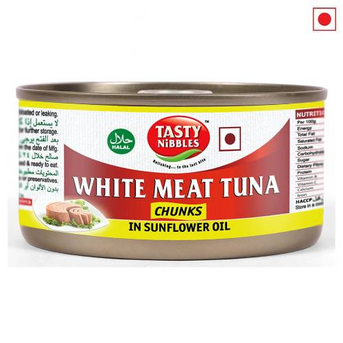 TASTY NIBBLES WHITE MEAT TUNA IN SUNFLOWER OIL 185g