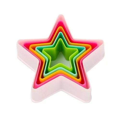 NOOR MULTICOLOUR STAR SHAPE PLASTIC COOKIE CUTTER 5 PIECE SET, CUTTING TOOL