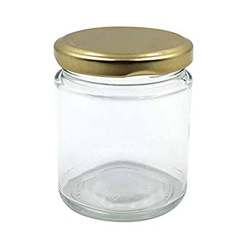CAKE JAR / GLASS BOTTLE ROUND WITH GOLDEN COLOUR LID 190ml