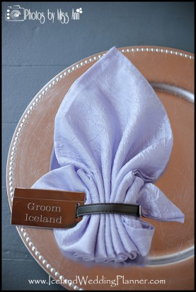 Wedding Favor Luggage Tags as Napkin Ring Iceland Wedding Planner