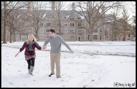 Playful Michigan Winter Engagement Photos