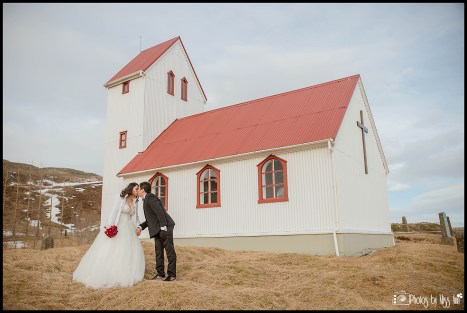 Iceland Wedding Kiss at Lakeside Country Church Photos by Miss Ann