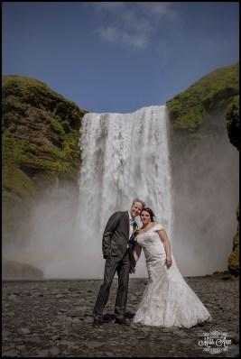 Iceland Wedding Bride and Groom and Skogafoss Waterfall