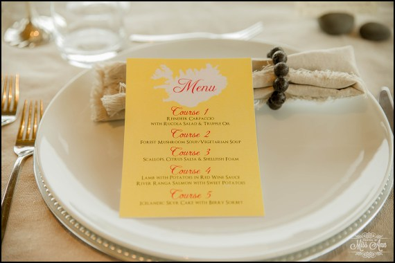 Iceland Wedding Menu Hotel Ranga Wedding