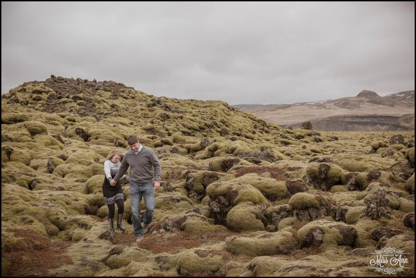 Iceland Post Wedding Session Moss Covered Lava Fields