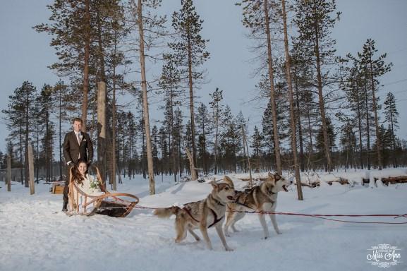 Winter Wedding Adventure Dog Sledding in Lapland