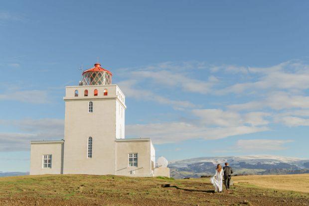 Dyrholaey Lighthouse Iceland Wedding Couple