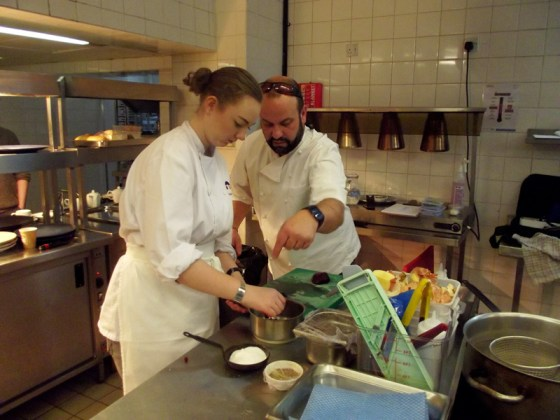 Katie Carruth and Charlie Hodson in the kitchen