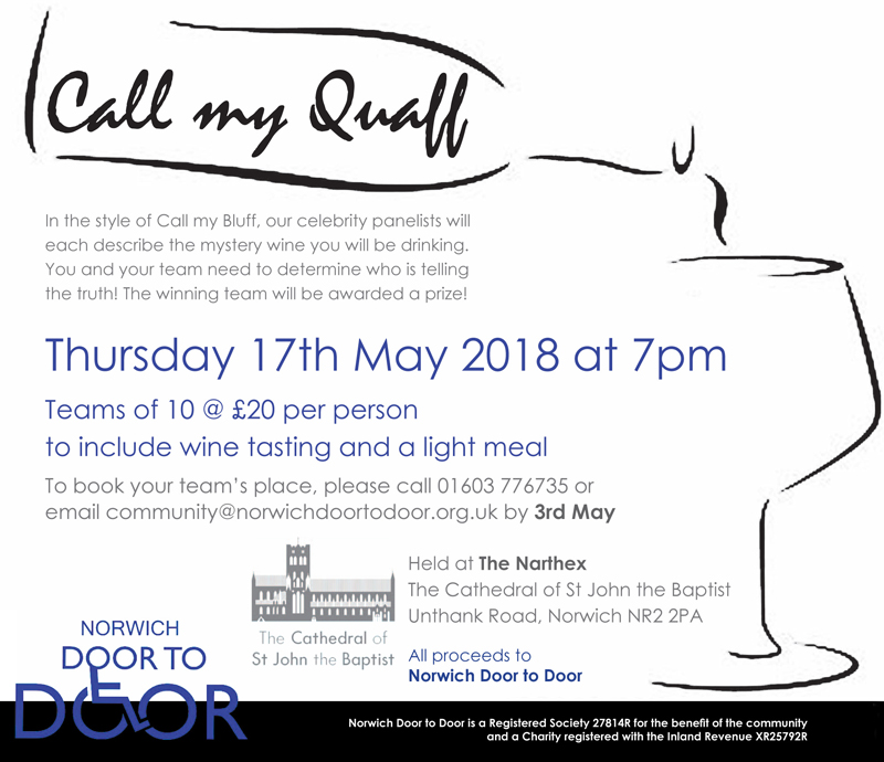 Norwich Door to Door is hosting a wine tasting Call my Quaff