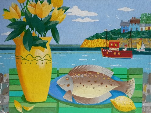 Fish and Flowers, by Neil Whitehead Acrylic on canvas