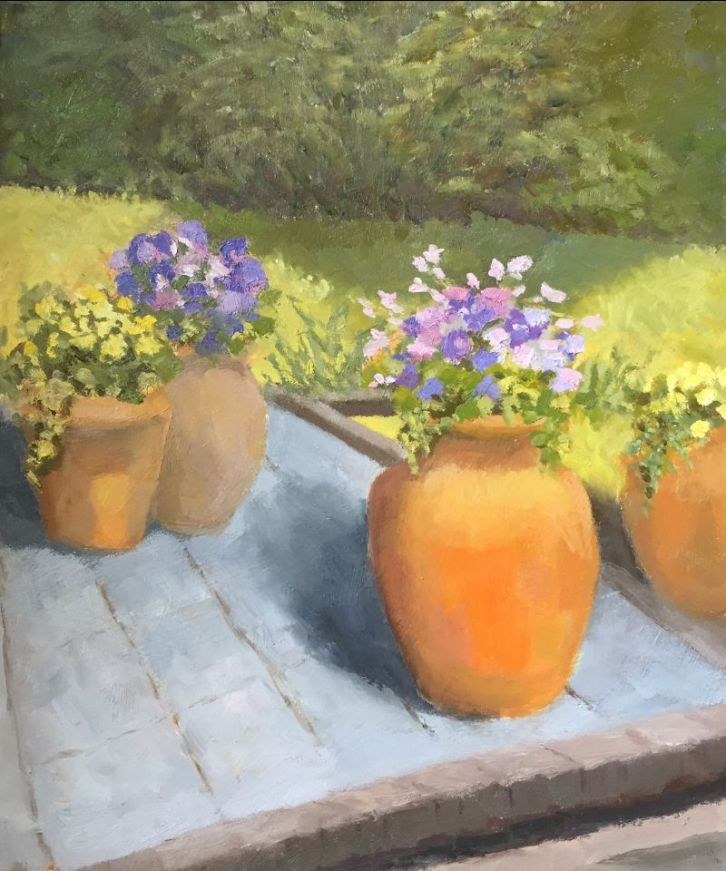 The Terrace, Late Summer, by Sue Arnold Oil on board